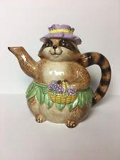Vtg Mary Ann Baker Raccoon with Violets Teapot Handpainted Japan Otagiri