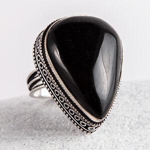 Wunderschöner, großer Silber Ring, 925, schwarzer Onyx, Statement, Größe: 60