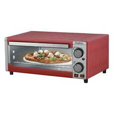 Bench Top Kitchen Electric Portable Pizza Oven and Griller Timer Bake Red