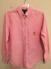 5515) LAUREN RALPH LAUREN sz 8P pink oxford button down shirt heavy cotton