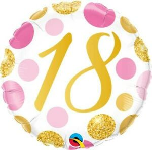 FANTASTIC COLOUFUL PINK AND GOLD 18TH BIRTHDAY HELIUM FOIL BALLOON