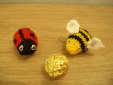 Hand designed knitting pattern ladybird bee buggalugs cosy chocolate cover egg