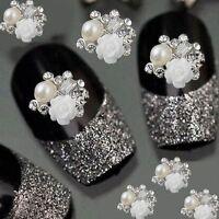 10pcs 3D Alloy Jewelry Nail Art Decoration White Rose Glitter Rhinestone
