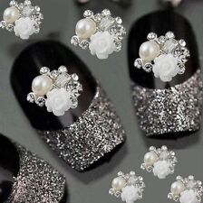 3D 10pcs Alloy Jewelry Nail Art Decoration White Rose Glitter Rhinestone