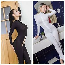 Women's Sheer Lingerie Zipper Smooth Bodysuit Jumpsuit Catsuit Clubwear Clothes