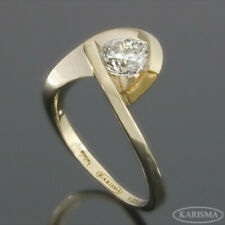 SI1 D DIAMOND TWISTED RING SOLITAIRE WOMENS AWESOME CLASSIC 14K YELLOW GOLD