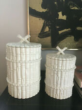 Vtg Mid Century Modern Faux Bamboo Chinoiserie Spanish Canisters Pottery Spain