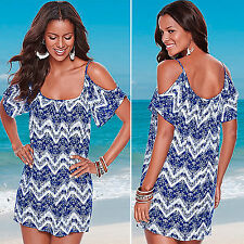 Womens Cold Shoulder Short Mini Dress Summer Beach Party Loose Shirts Top Blouse