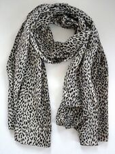 NWOT YSL YVES SAINT LAURENT BABY CAT Animal Leopard Print 100% SILK Long Scarf
