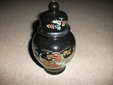 JAPANESE GINGER POT(?)-BLACK WITH PRETTY, COLOURFUL BIRD DESIGN-16 CM TALL-LUVLY