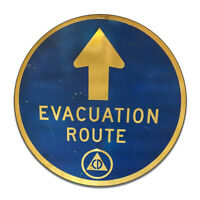 Evacuation Route Emergency Hurricane Tornado Severe Round MDF Wood Sign
