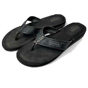 Coach Jolie Black Signature Thong Flip Flop Sandals-Sz 9