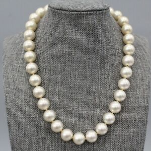 Majorica Faux Champagne Pearl Choker Necklace Sterling Silver Clasp