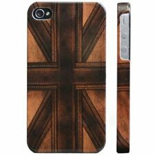 FrozenDNA Apple iPhone 4 4S Hard Case Snap on Plastic Cover Leather Union Jack