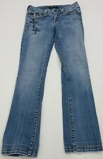 Serfontaine Rivet and Jewel Cross Embellished Boot Cut Jean Size 25