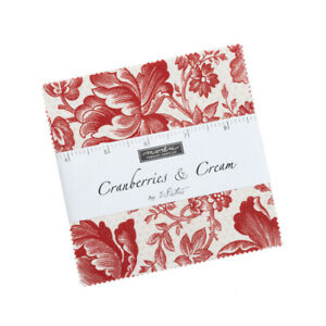 """Cranberries & Cream Charm Pack by 3 Sisters for Moda 42 5"""" Squares 44260PP"""
