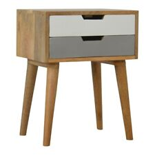 Bedside Table Two Drawer Grey & White Painted   Modern Contemporary Solid Wood
