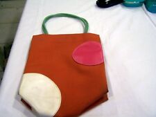 Longchamp Paris, orange polka dot lunch box/handbag/purse, vintage