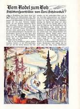 Kunst Malerei Winter Sport Bob Rodel der Maler Toni Schönecker 1928