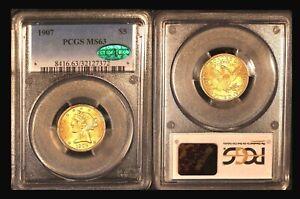 1907 $5 PCGS/CAC MS 63 - Half Eagle