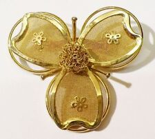 broche fleur en relief bijou vintage couleur or poli brillant * 3576