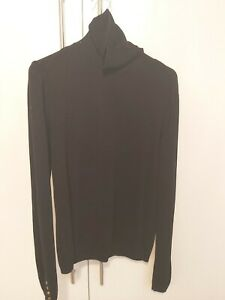 Zara Medium Black Roll Polo Neck Jumper 10-12