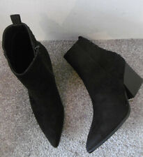 Truffle Black Suedette Studded Back Pointed Block Heel Boots Size UK 5 EU 38
