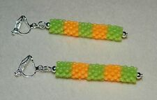Striped Green & Orange Candy Colour Bead & Silver Plate Clip On Dangle Earrings