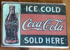 Ice Cold Coca-Cola Sold Here Coke Metal Tin Signs Bar Shed & Man Cave Signs
