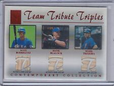 RODRIGUEZ/BLALOCK/TEIXEIRA 2003 Topps Tribute Contemporary Relics Red /50 (C762)