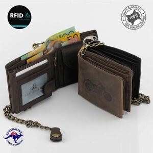 New Genuine Cowhide Leather Large Biker's RFID Protection Large Wallet Vintage