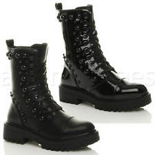 WOMENS LADIES MID BLOCK HEEL STUDDED ZIP MILITARY COMBAT ANKLE BOOTS SIZE