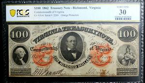1862  $100  Richmond, Virginia.  Treasury Note   PCGS 30 VERY FINE