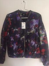 NWT H&M TREND COLLECTION FLORAL PATTERN PRINTS BOMBER JACKET US 6