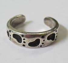 Sterling Silver Adjustable Toe Ring Footprints Design Solid 925 Oxidized Jewelry