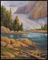 JEFF LOVE Art Original Oil Painting Snow Mountain Alpine Snow Lake Ready 2 Hang