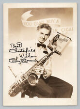 CORKY CORCORAN 1940s CHESTERFIELD CIGARETTE Signed AUTOGRAPH PHOTO Jazz Band SAX
