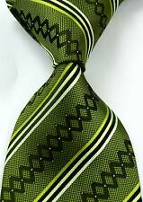 New Classic Striped Green White JACQUARD WOVEN Silk Men's Tie Necktie #358