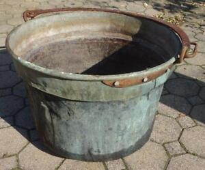 alter großer Kupferkessel Waschkessel Übertopf Pflanzkübel