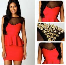 Red Peplum Bodycon Mini Dress Evening Wear Party Summer Cocktail Pencil Skirt UK