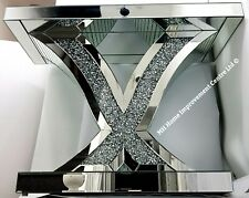 Mirrored Console Table Silver Mirrored Sparkly Diamond Crush Crystal Hallway