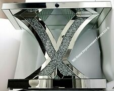 Mirrored Console Table Silver Mirrored Sparkly Diamond Crush Crystal