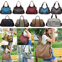 Womens Canvas Shoulder Bag Satchel Crossbody Large Tote Handbag Purse Messenger