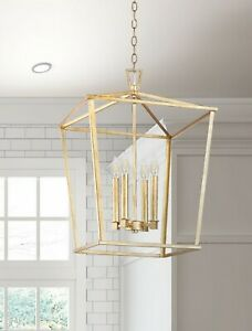 "Gold Lantern 17"" D x 25"" - 4 Light Modern island pendant Open Cage Kitchen New"