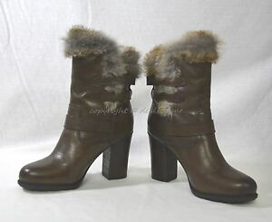 NIB Frye Penny Luxe Moto Leather & Real Fur Boots Women's Size 8.5M in Dark Grey