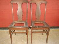 2 Antique Oak Formal T-Back Vase Back Dinning Room Chairs For Restoration   #115