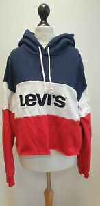 WOMENS LEVI'S BLUE RED WHITE PULLOVER OVERSIZED CROPPED HOODIE UK M EU 38