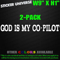 2-Pack GOD IS MY CO-PILOT Car Window Decal Bumper Sticker Christian Jesus 0031