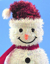 "Fuzzy 11"" Tall White Christmas Snowman Red Scarf Hat Button Eyes Carrot Nose"