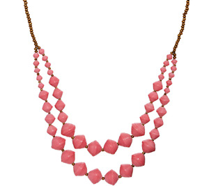 "31 Bits Double Layer Beaded 30""L Pink Voyager Necklace $40.00"